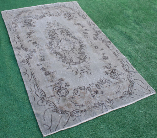 Turkish Rug 46''x78'' Hand Knotted Color Transition Gray Vintage Rug 118x200cm
