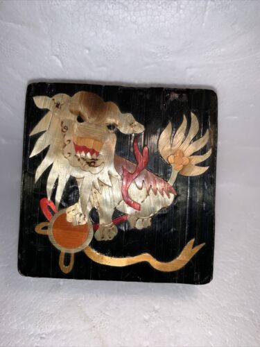 VINTAGE Chinese Lion Trinket Box Straw Covered & Lined
