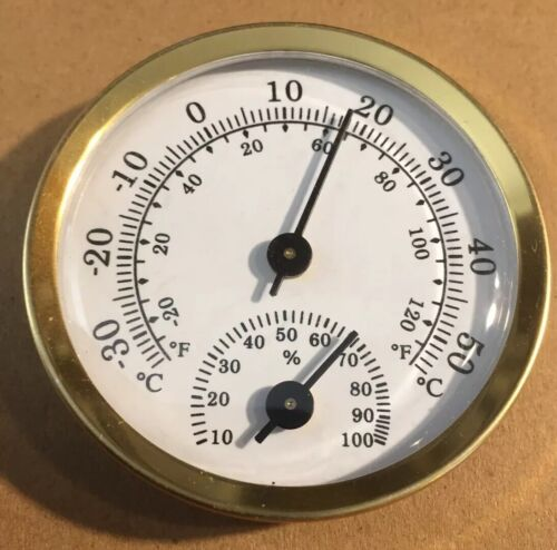 Quality Metal  Analog Hygrometer/thermometer, 57mm Round Gold