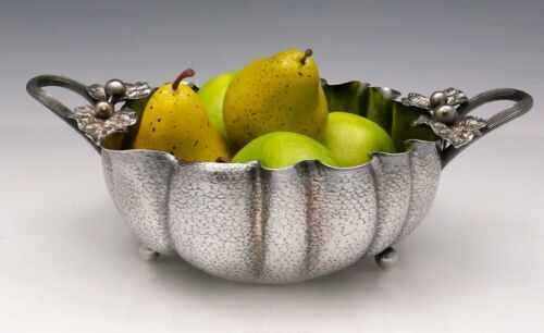 WOOD & HUGHES Lobed Sterling BOWL Naturalistic Berries and Leaves