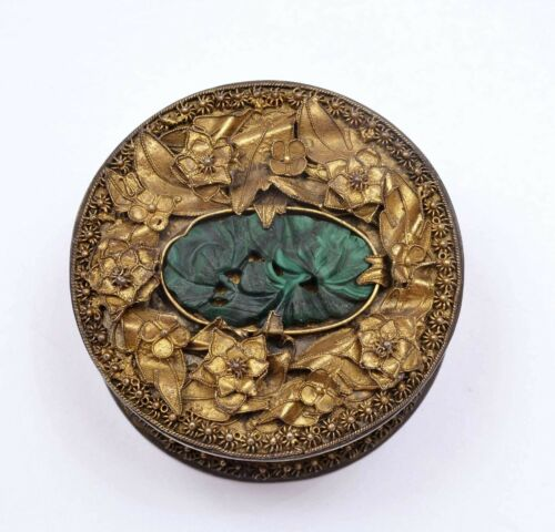 1930's Chinese Brass Box Malachite Carved Plaque Postage Stamp Roll Dispenser
