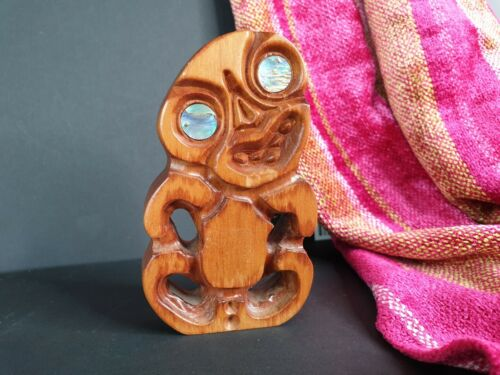 Old New Zealand Carved Wooden Tiki (L) …beautiful collection and display piece