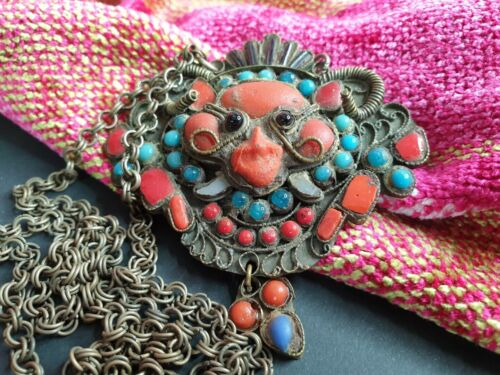 Old Tibetan Rams Head Medallion Necklace with Local Stones …beautiful collection