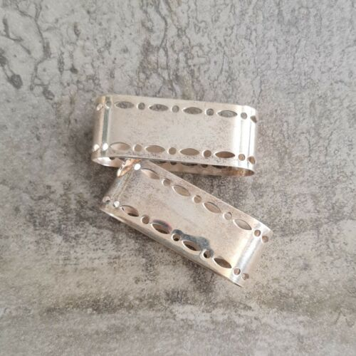 Pair Vintage EPNS A1 Napkin Rings Oval Pierced Edges Silver Plated Unpolished