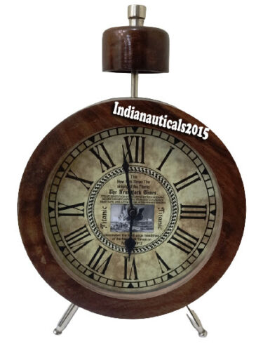 """Nautical Brown Table Top Clock Wooden Clock Home Decorative 10"""""""