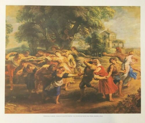 PETER PAUL RUBENS – DANCE OF COUNTRY PEOPLE – MADRID, SPAIN Vintage Lithograph