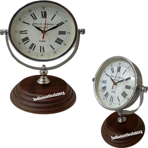 """11"""" Nautical Style Chrome-Plated Clock and Brown Stand Maritime Household Clock"""