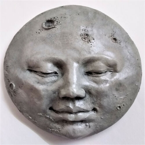 Original Moon Face Wall Sculpture, Handmade in Cast Stone by Claybraven