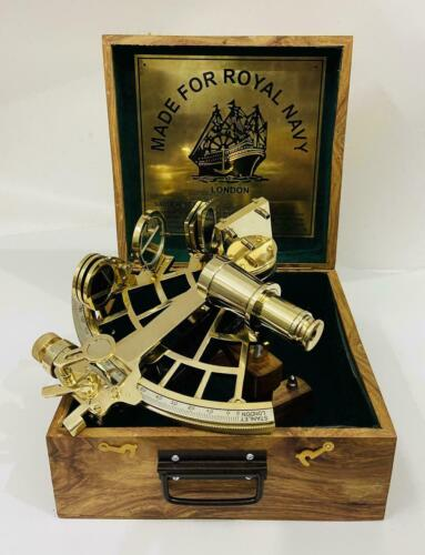 """10"""" Polished Brass Sextant Marine Nautical Collectible Ship Astrolabe With Box"""