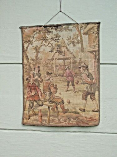 Belgium Tapestry Wall Hanging Art Cavaliers Drinking Playing 1920s