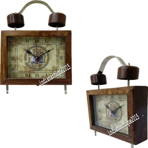 Nautical Brown Wooden Table Clock Vintage Replica Gift Home Decor Item