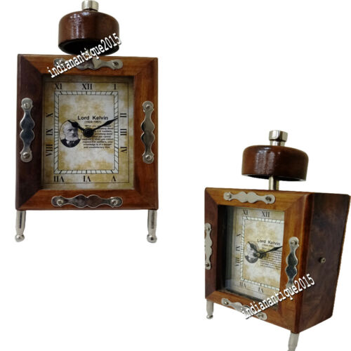 Nautical Brown Clock vintage style wooden table desk clock decor watch gift