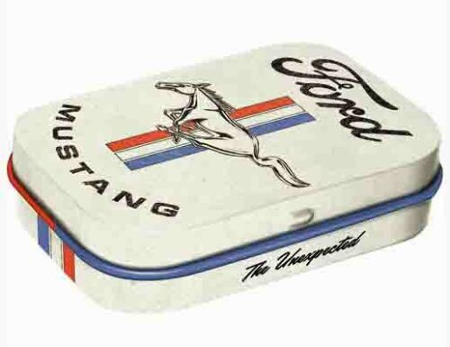 Retro Embossed Tin Metal Pill Box FORD MUSTANG with Mints Licensed 6 x 4cm Horse