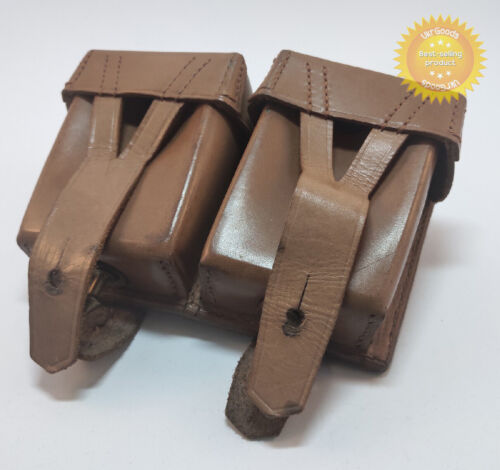 Mosin Nagant Rare Ammo Double Pouch Dated Leather Original Soviet Russian GermanOriginal Period Items - 13982