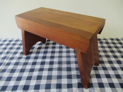 """Vintage Foot Stool Stand, Cherry Wood,13"""" Long x 7"""" Wide x 9"""" Tall, Sturdy Solid"""