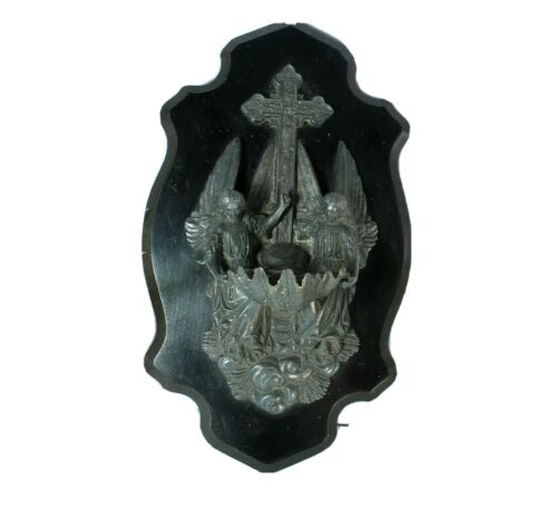 Antique french religious spelter bronze archangel holy water font crucifix rare