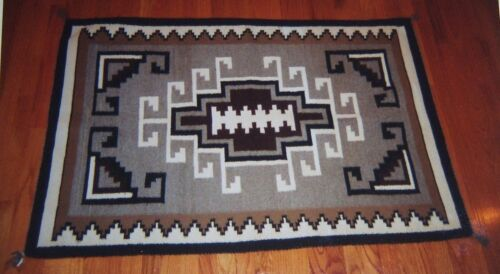 """Navajo TWO GREY HILLS Rug Weaving Tapestry Native American Indian 37""""x 56"""