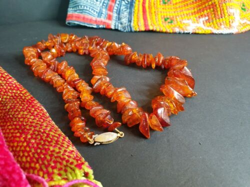 Old Natural Amber Resin Necklace …beautiful collection and accent piece