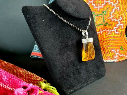 Old Amber Pendent on Silver Chain (B) …beautiful collection and accent piece