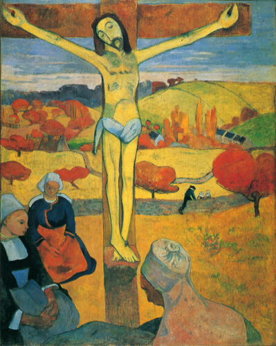 Stunning Oil painting Paul Gauguin - The Yellow Christ on the cross hand painted