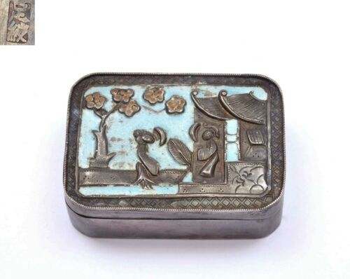 1900's Chinese Solid Silver Enamel Pill Box with Figure Figurine Marked 足紋