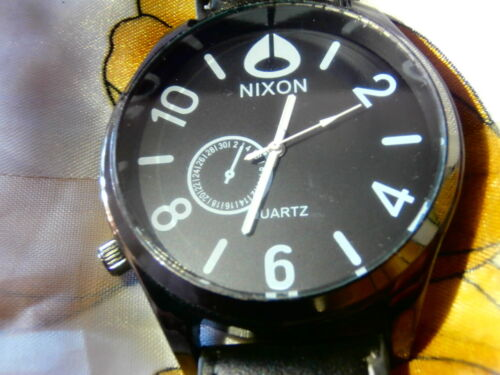 Nixon CLASSIC Leather Mens Watches - LOT OF 2 BLACK  BROWN  WHITE