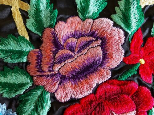 ANTIQUE Beautiful Embroidery, Vibrantly colored Basket with flowers Tapestry