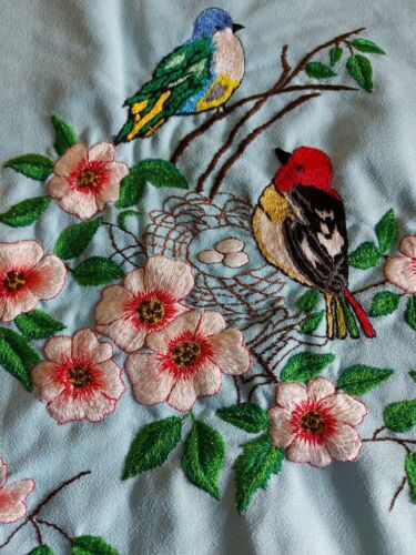 ANTIQUE Beautiful Vintage Embroidery Tapestry Birds with nest, Flowers