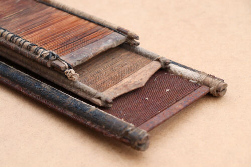 Old Antique Primitive Wooden Wood Weaving Loom Reeds Rustic Ranch Signed 19th.