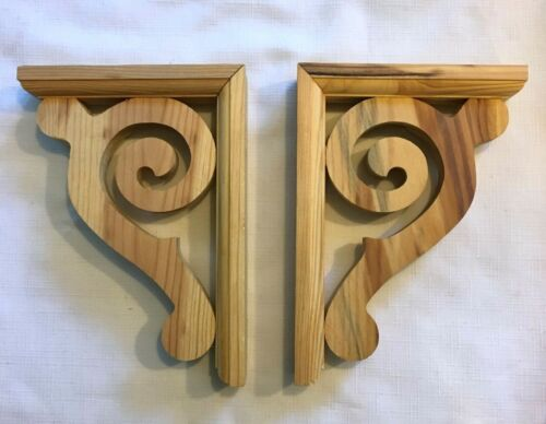 """Corbels Unfinished Wood Scrolls with Hardware 8-5/8""""H x 6-3/8"""" D Set of 2"""