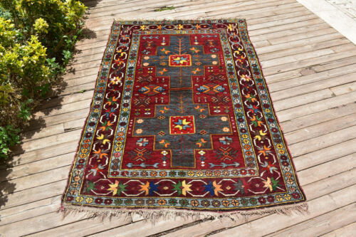 Caucasian Rug 49''x79'' Hand Knotted Vintage Primitive Gray 4x6 Rug 127x203cm