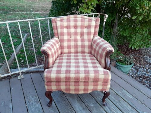 Antique Upholstered Traditional Ladies Wingback Arm Chair Solid Carved Mahogany