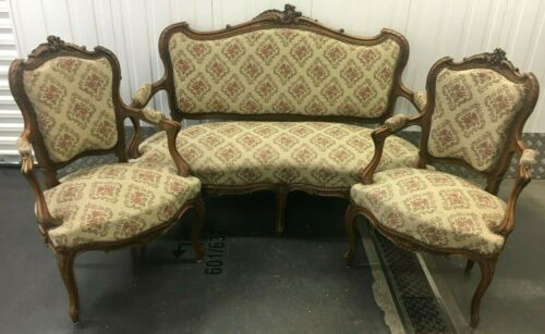 Antique french Louis XV style furniture set 1930-40's woodwork couch armchairs
