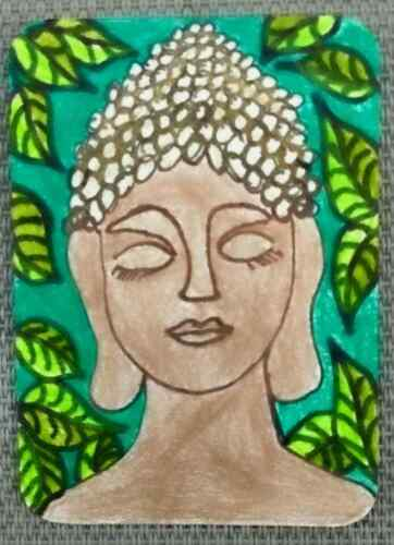 ACEO original Siddhartha 2 by Artist Stacey Torres, Ink & Polychromos Pencils