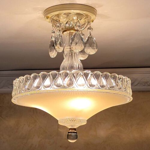132p Vintage Antique Ceiling Light Glass lamp Shade fixture chandelier crystals