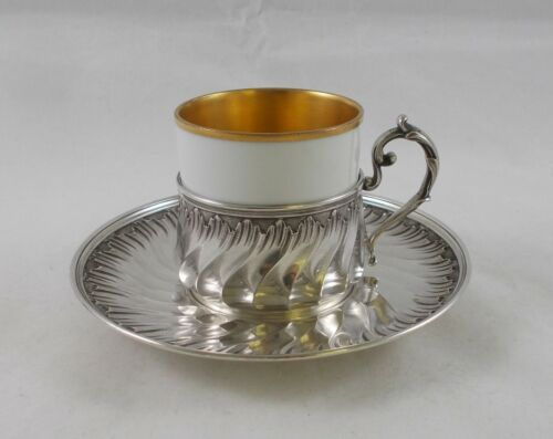 RAR Magnificent Coffee Cup IN Rococo Style From 950er Sterling Silver, France