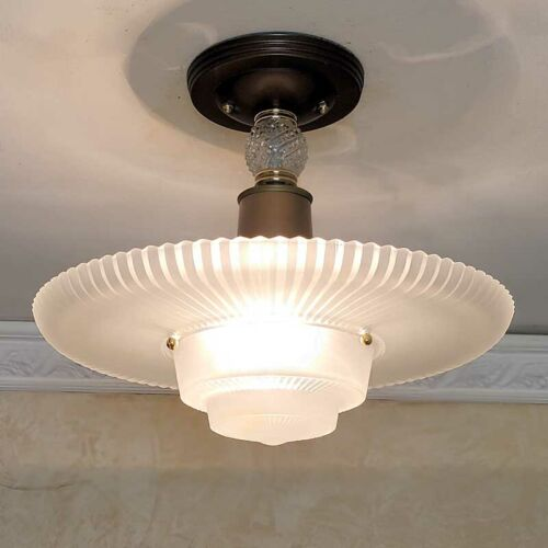 958b Vintage arT Deco Ceiling Light Lamp Fixture Glass Shade Re-Wired