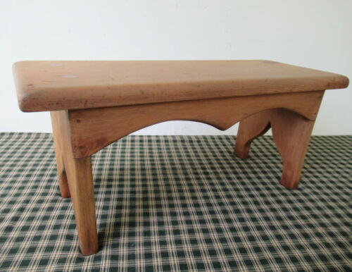 """Vintage Foot Stool Stand Pine Wood 18"""" Long x 7"""" Wide x 8"""" Tall Mortised Tenoned"""