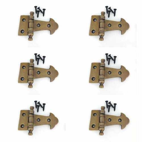 6 small heavy hinges vintage aged solid Brass DOOR cabinets finials box B