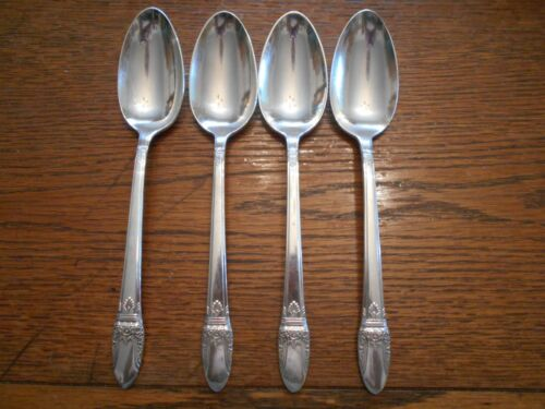 4 Rogers 1937 FIRST LOVE Pattern Table Serving Spoons IS Silverplate 4252