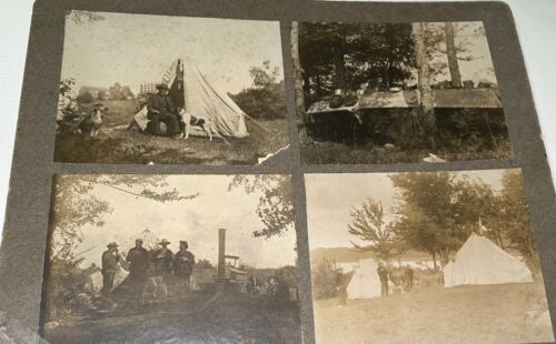 Rare Antique American Patriotic Camping & Fishing Collage! Dogs Cabinet Photo!