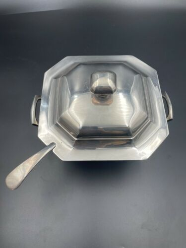 """Hardy Bros Large Octagonal Silver Plated Punch Bowl & Ladle 10"""" Made in England"""