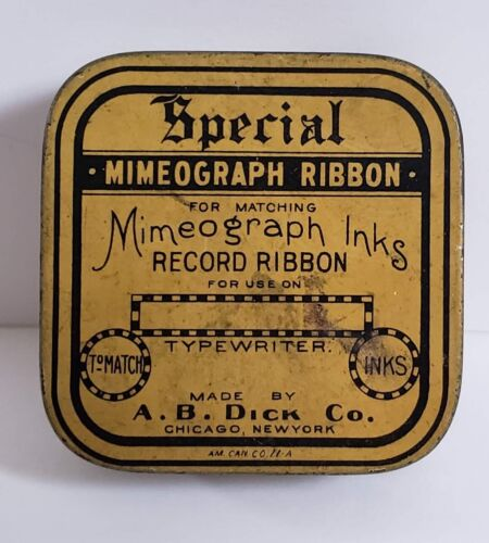 SPECIAL MIMEOGRAPH RIBBON TIN EMPTY A.B. DICK CO., CHICAGO NEW YORK