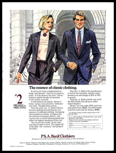 1985 Jos. A. Bank Clothiers Vintage PRINT AD Fine Clothing Suits Drawing Couple