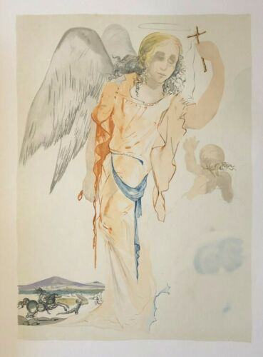 """Salvador Dali - Guardian Angel with Cross , Vintage Lithograph 22"""" x 30"""""""