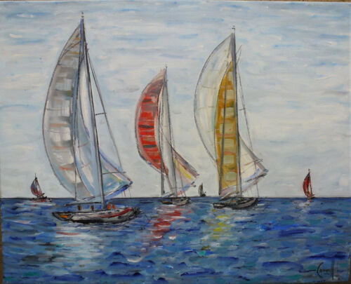WIND IN SAILS sailboat race 16x20 NEW painting ship original art signed Crowell