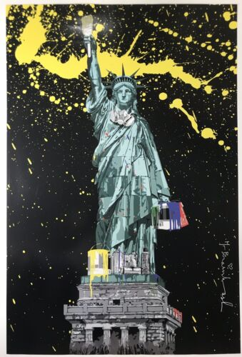Mr Brainwash LIBERTY NY Icon 2010 Hand Signed Color Offset Lithograph 24X36 KAWS