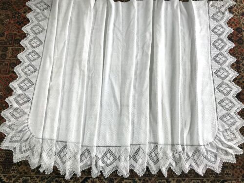 Huge Antique Daybed Cover AS IS  Cotton Jacquard Deep Crochet Trim 2..8m / 9.5'