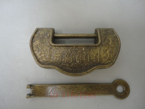 Collected Rare Handwork China Decorated Copper Usable Shaped Lock And Key 百年好合
