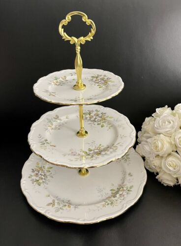 Royal Albert Haworth Large 3-tiered Cake Stand, England, As New Condition